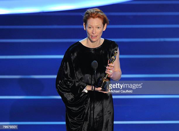 Actress Tilda Swinton onstage during the 80th Annual Academy Awards at the Kodak Theatre on February 24 2008 in Los Angeles California