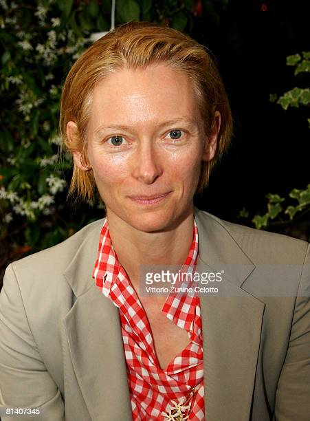 Actress Tilda Swinton poses at Gatti in Crisi D'Identita Book Launch held at Vivaio Sorelle Riva on June 04 2008 in Milan Italy