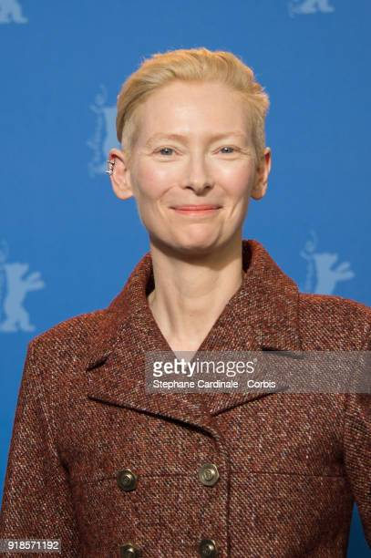 Actress Tilda Swinton poses at the 'Isle of Dogs' photo call during the 68th Berlinale International Film Festival Berlin at Grand Hyatt Hotel on...