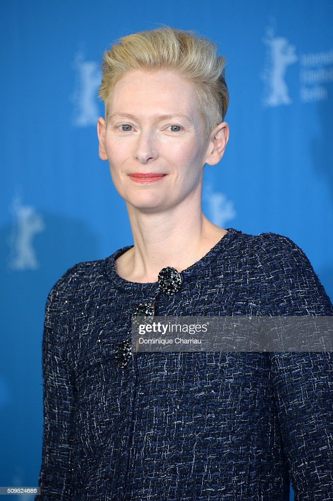 Actress Tilda Swinton poses during the 'Hail, Caesar!' photo call during the 66th Berlinale International Film Festival Berlin at Grand Hyatt Hotel on February 11, 2016 in Berlin, Germany.