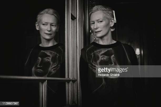Actress Tilda Swinton poses for a portrait during the 69th Berlinale International Film Festival on February 13 2019 in Berlin Germany