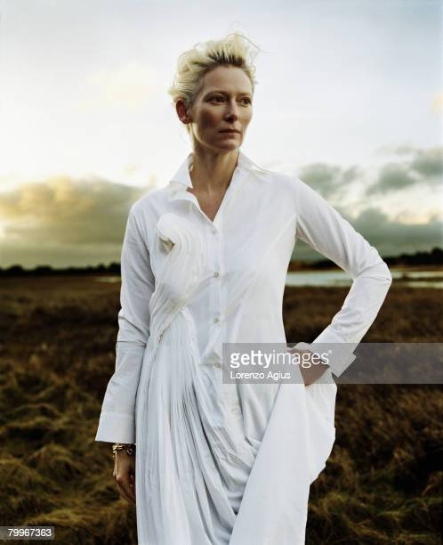 Actress Tilda Swinton poses for a portrait shoot on February 1 2005 in the United Kingdom