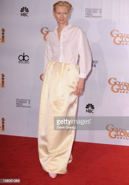Actress Tilda Swinton poses in the press room at the 68th Annual Golden Globe Awards held at The Beverly Hilton hotel on January 16, 2011 in Beverly...