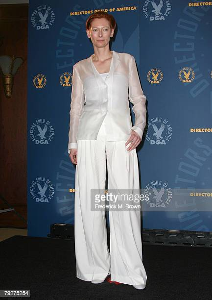 Actress Tilda Swinton poses in the press room during the 60th annual DGA Awards held at the Hyatt Regency Century Plaza Hotel on January 26, 2008 in...