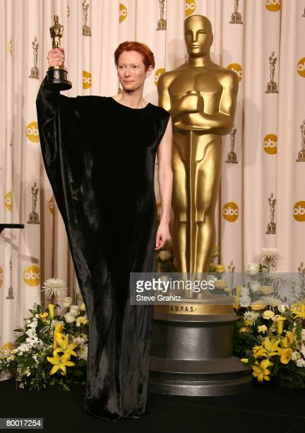 Actress Tilda Swinton poses in the press room during the 80th Annual Academy Awards at the Kodak Theatre on February 24 2008 in Los Angeles California