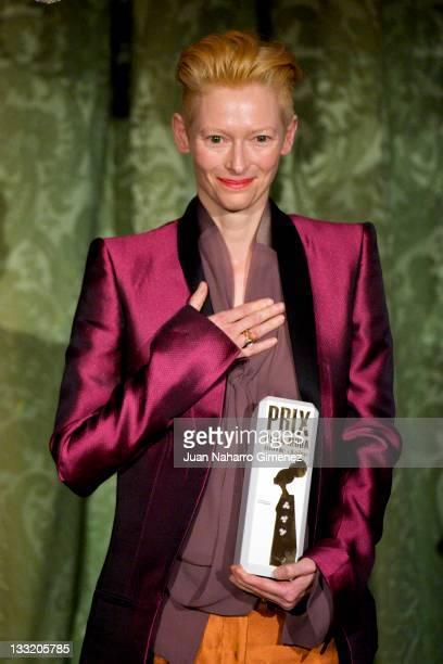 Actress Tilda Swinton recieved Marie Claire Prix de la moda Award 2011 at French Embassy on November 17 2011 in Madrid Spain