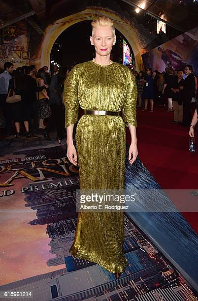 """Actress Tilda Swinton, wearing Haider Ackermann, attends The Los Angeles World Premiere of Marvel Studios' """"Doctor Strange"""" in Hollywood, CA on Oct...."""