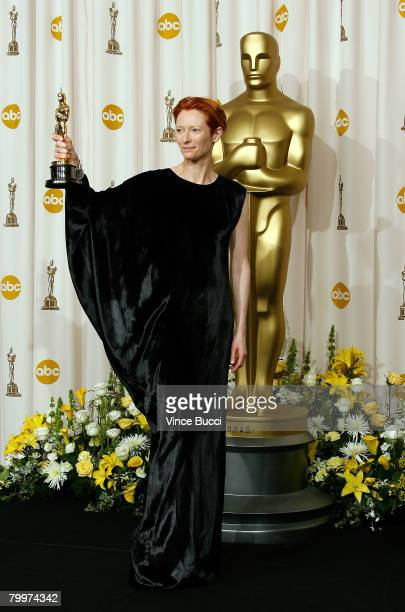 TELECAST*** Actress Tilda Swinton winner of the Performance By An Actress In A Supporting Role award for 'Michael Clayton' poses in the press room...