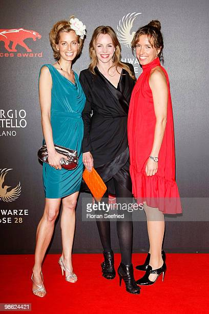 Actress Tina Bordihn and actress Simone Hanselmann and Ulrike Beck attend the 'new faces award 2010' at cafe Moskau on April 22 2010 in Berlin Germany