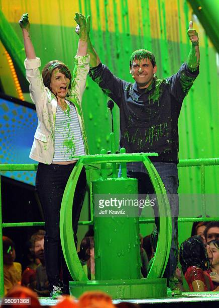 Actress Tina Fey and actor Steve Carell onstage at Nickelodeon's 23rd Annual Kids' Choice Awards held at UCLA's Pauley Pavilion on March 27 2010 in...