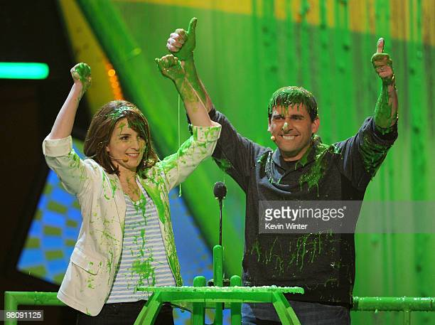 Actress Tina Fey and actor Steve Carrell speak onstage at Nickelodeon's 23rd Annual Kids' Choice Awards held at UCLA's Pauley Pavilion on March 27...
