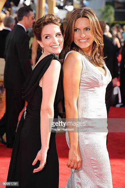 Actress Tina Fey and actress Mariska Hargitay arrives at the 61st Primetime Emmy Awards held at the Nokia Theatre on September 20 2009 in Los Angeles...
