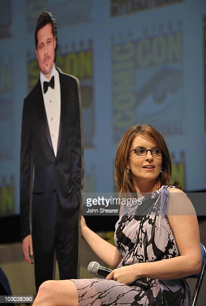 """Actress Tina Fey and cardboard cut-out of Brad Pitt speak at the """"Megamind"""" panel during Comic-Con 2010 at San Diego Convention Center on July 22,..."""