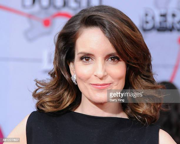 Actress Tina Fey arrives at the Los Angeles premiere of 'Muppets Most Wanted' on March 11, 2014 at the El Capitan Theatre in Hollywood, California.