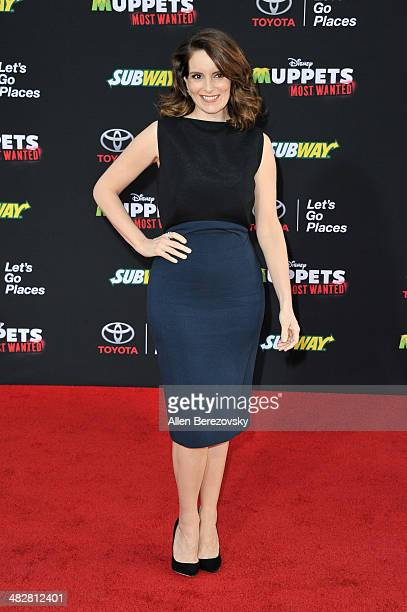 Actress Tina Fey arrives at the Los Angeles premiere of 'Muppets Most Wanted' at the El Capitan Theatre on March 11 2014 in Hollywood California