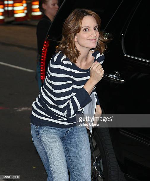 Actress Tina Fey arrives to 'Late Show with David Letterman' at Ed Sullivan Theater on October 3 2012 in New York City