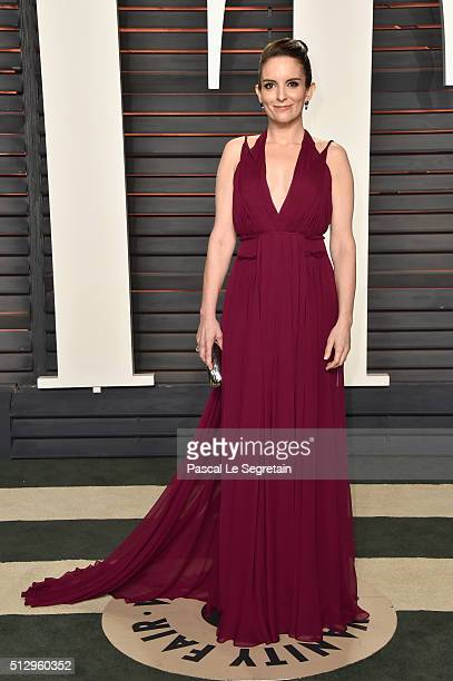 Actress Tina Fey attends the 2016 Vanity Fair Oscar Party Hosted By Graydon Carter at the Wallis Annenberg Center for the Performing Arts on February...
