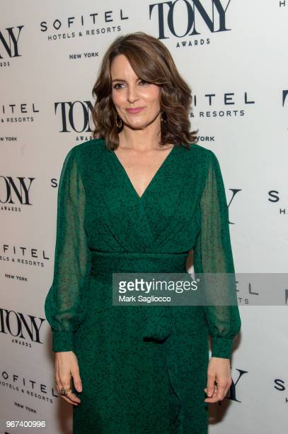 Actress Tina Fey attends the 2018 Tony Honors For Excellence In The Theatre and 2018 Special Award Recipients Cocktail Party at the Sofitel Hotel on...