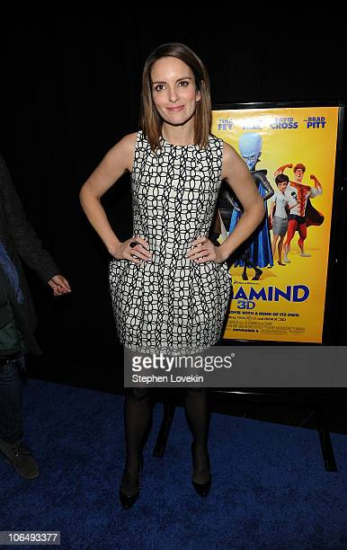 """Actress Tina Fey attends the New York premiere of """"Megamind"""" at AMC Lincoln Square Theater on November 3, 2010 in New York City."""