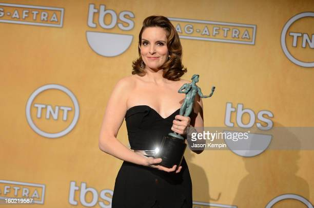 Actress Tina Fey attends the19th Annual Screen Actors Guild Awards Press Room at The Shrine Auditorium on January 27 2013 in Los Angeles California
