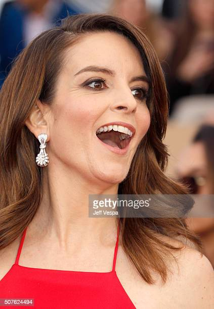 Actress Tina Fey earring detail attends the 22nd Annual Screen Actors Guild Awards at The Shrine Auditorium on January 30 2016 in Los Angeles...