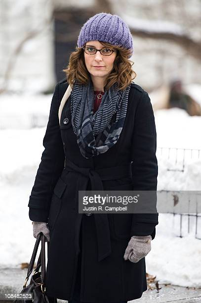 Actress Tina Fey films scenes for her show '30 Rock' on January 28 2011 in New York City