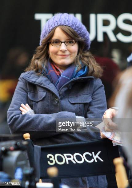 Actress Tina Fey is seen on the set of the TV show '30 Rock ' on location in Rockefeller Center on October 5 2011 in New York City