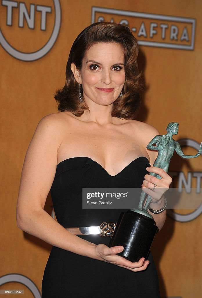 Actress Tina Fey poses in the press room during the 19th Annual Screen Actors Guild Awards held at The Shrine Auditorium on January 27, 2013 in Los Angeles, California.