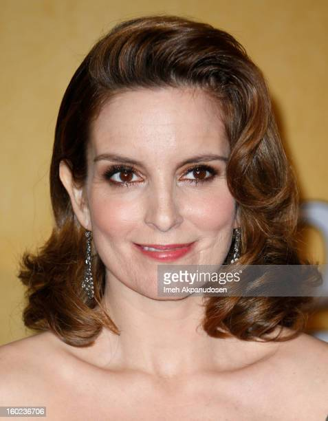 Actress Tina Fey poses in the press room during the 19th Annual Screen Actors Guild Awards held at The Shrine Auditorium on January 27 2013 in Los...