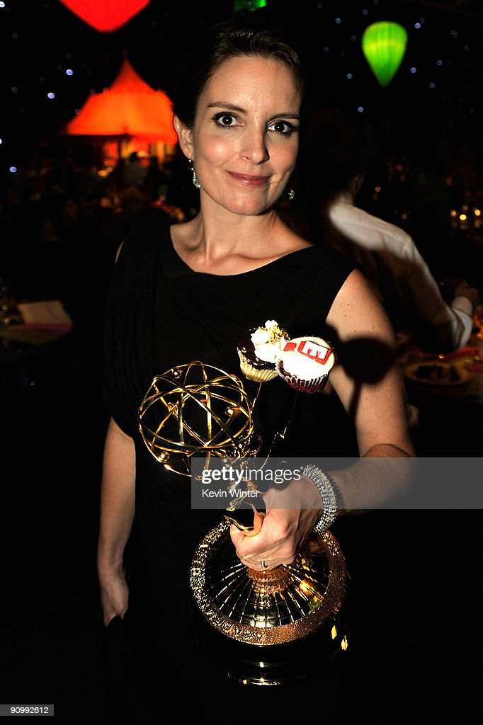Actress Tina Fey poses with her Emmy for Outstanding Comedy Series for '30 Rock' as she attends the Governors Ball for the 61st Primetime Emmy Awards held at the Los Angeles Convention Center on September 20, 2009 in Los Angeles, California.