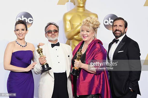 Actress Tina Fey production designers Colin Gibson Lisa Thompson winners of Best Production Design for 'Mad Max' and actor Steve Carell pose in the...