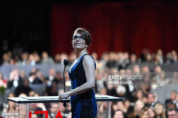 Actress Tina Fey speaks onstage during the 2015 AFI Life Achievement Award Gala Tribute Honoring Steve Martin at the Dolby Theatre on June 4 2015 in...
