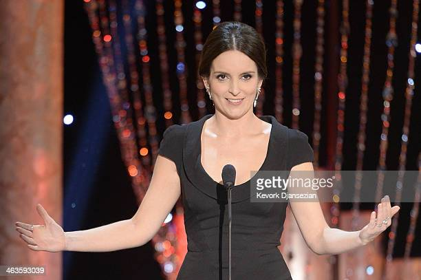 Actress Tina Fey speaks onstage during the 20th Annual Screen Actors Guild Awards at The Shrine Auditorium on January 18 2014 in Los Angeles...
