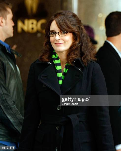 Actress Tina Fey stands on location during filming for '30 Rock' at Rockefeller Center on October 6 2008 in New York City