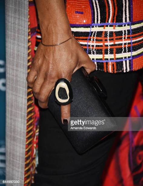 Actress Tina Lifford, clutch and ring detail, arrives at the Essence 10th Annual Black Women in Hollywood Awards Gala at the Beverly Wilshire Four...