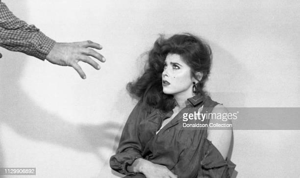 Actress Tina Louise rehearsing a horror scene in 1954