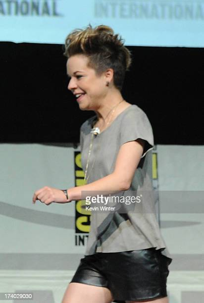 Actress Tina Majorino speaks onstage at the Veronica Mars special video presentation and QA during ComicCon International 2013 at San Diego...