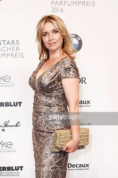 Actress Tina Ruland wearing a dress by the Designer Sonja Kiefer attends the Duftstars 2016 at Kraftwerk Mitte on May 12 2016 in Berlin Germany