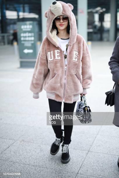 Actress Tina Tang Yixin is seen at an airport on November 20 2018 in Shanghai China Actress Tina Tang Yixin cancelled her plan of attending the...