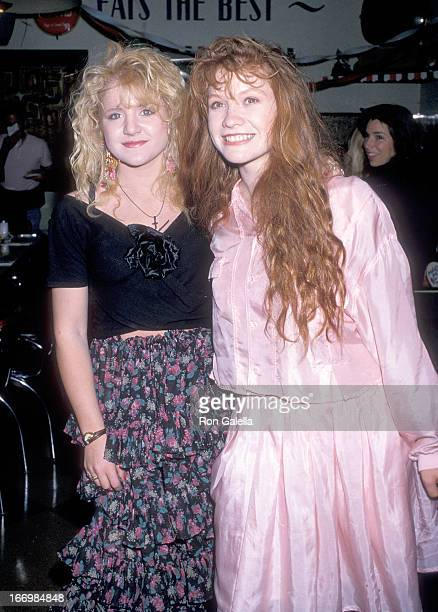 Actress Tina Yothers and actress Khrystyne Haje attend Tina Yothers' 16th Birthday Party on May 5 1989 at Ed Debevic's Short Order Deluxe in Beverly...