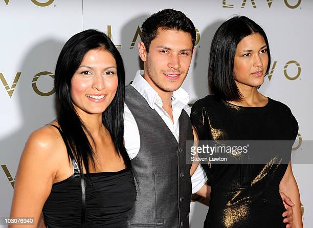 Actress Tinsel Korey actor Alex Meraz and Julia Jones from the movie Twilight arrive to host an evening at Lavo Restaurant Nightclub at The Palazzo...