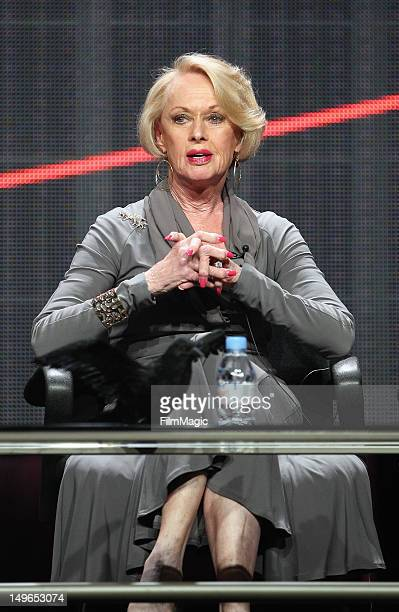 Actress Tippi Hedren speaks onstage during the HBO Summer 2012 TCA Panel at The Beverly Hilton Hotel on August 1 2012 in Beverly Hills California
