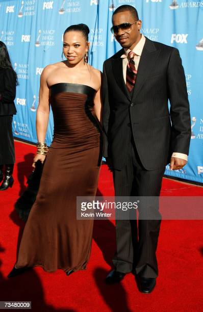 Actress Tisha Campbell and Duane Martin arrive at the 38th annual NAACP Image Awards held at the Shrine Auditorium on March 2 2007 in Los Angeles...