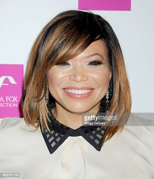 Actress Tisha Campbell arrives at the Vivica A. Fox 50th Birthday party at Philippe Chow on August 2, 2014 in Beverly Hills, California.