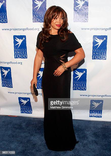 Actress Tisha Campbell arrives to the Divine Design Man And Woman Of Style Awards at Santa Monica Air Center's Barker Hangar on November 30 2005 in...