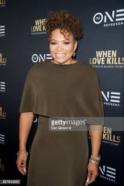 Actress Tisha CampbellMartin attends the Premiere Of TV One's When Love Kills at Harmony Gold on August 22 2017 in Los Angeles California