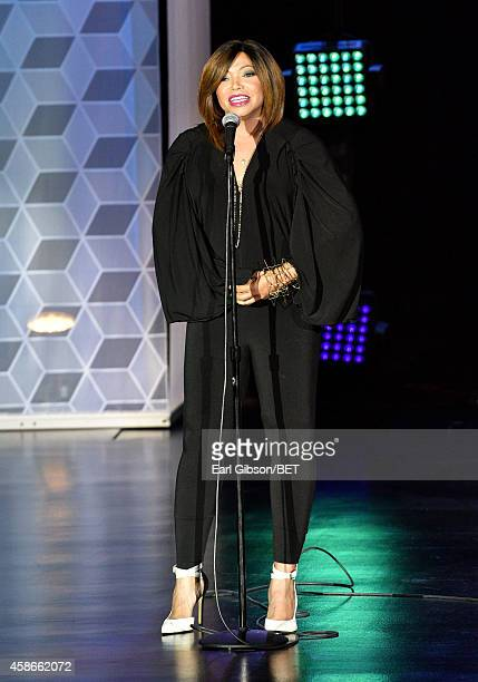 Actress Tisha CampbellMartin speaks onstage during Centric Presents The Soul Train Review at The Orleans Showroom at The Orleans Hotel Casino on...
