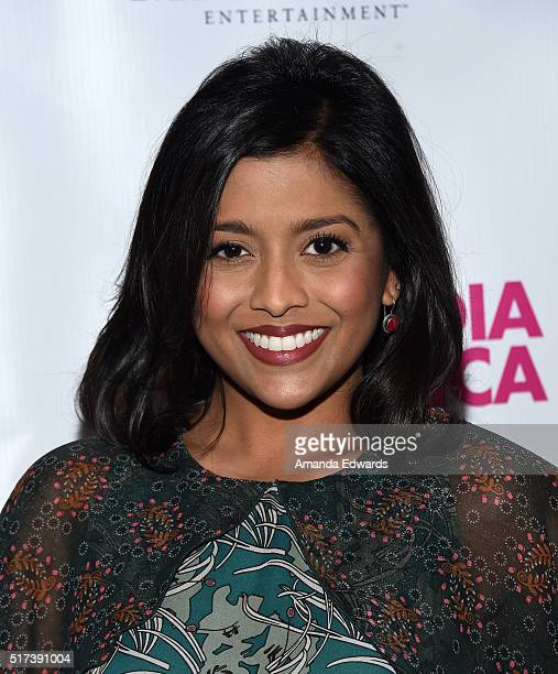 "Actress Tiya Sircar arrives at a screening of Marvista Entertainment's ""Miss India America"" at the Laemmle Royal Theatre on March 24, 2016 in Santa..."