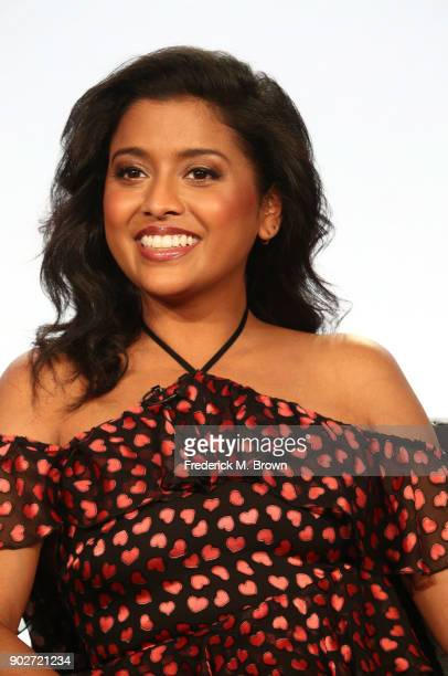 Actress Tiya Sircar of the television show Alex Inc speaks onstage during the ABC Television/Disney portion of the 2018 Winter Television Critics...