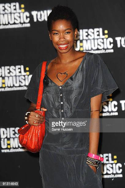 Actress Tolula Adeyemi arrives at the DieselUMusic World Tour Party held at the University of Westminster on October 1 2009 in London England
